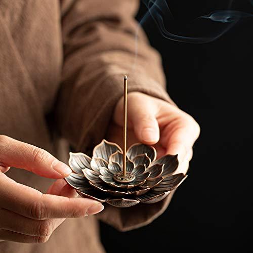 Ouceanwin Räucherstäbchen Halter Zink Legierung Lotus Ash Catcher, Vintage Lotus Räuchergefäß Platte Räucherstäbchenhalter für Räucherstäbchen Räucherkegel (Rotes Kupfer)