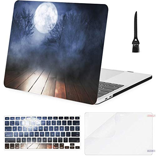 MacBook Air 13 Inch Case Empty Dark Background Glow Moon Forest MacBook Air11 Case MacBook Pro13 Pro15 Plastic Case Keyboard Cover,Screen Protector,Keyboard Cleaning Brush
