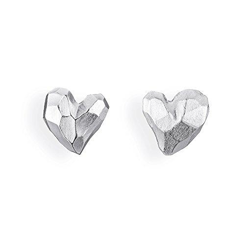 Drachenfels edle Ohrstecker aus der Kollektion Heartbreaker in Echtsilber | Ohrstecker Set Silber 925 Sterling | Elegante Design Ohrringe für Damen in Herzform