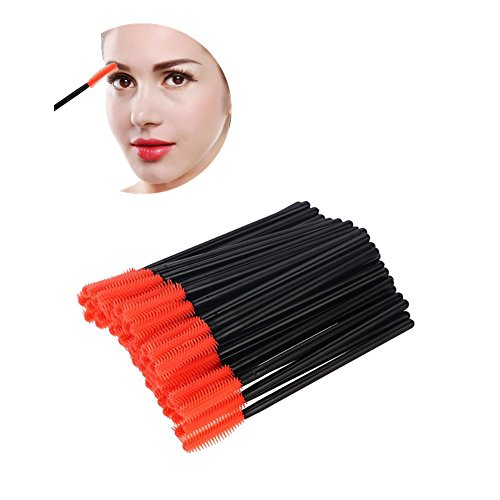 Cepillo de pestañas de silicona, 50pcs pestañas desechables peine varita aplicador de extensión de pestañas herramienta de belleza de maquillaje(Punta media luna)
