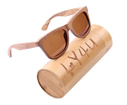 LY4U Gafas de sol de madera para hombre y mujer Gafas vintage Lentes polarizadas Gafas de sol unisex con caja de bambú