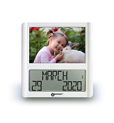 Geemarc VISO 5 - Reloj de Radio atómico Extra Grande con Marco de Fotos, Ideal para Personas con Demencia o Alzheimer, Pantalla Transparente no abreviada