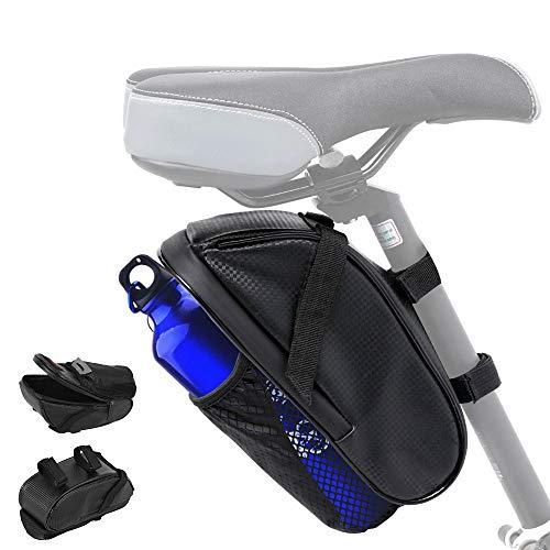 Fahrrad Satteltasche mit Flaschenhalter, Wasserdicht Fahrradtasche Trinkflasche Fahrradzubehör PU Satteltasche, für Mountainbike Rennrad MTB