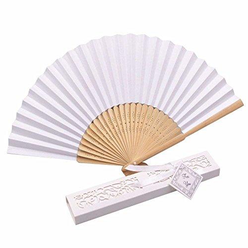 Coco Said - 20 abanicos de Seda Blancos para Boda, abanicos Plegables de bambú para Invitados, Caja de Regalo con Tarjeta de Cinta, Blanco