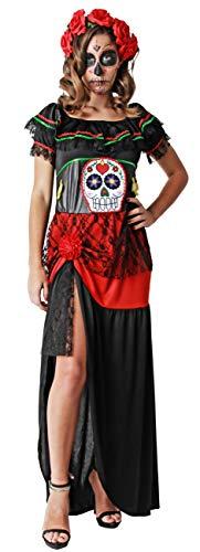 Gojoy shop- Disfraz de Calavera Mejicana del Día de los Muertos para Mujeres Halloween Canaval (Contiene Vestido, Talla Unica)