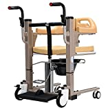 PAYRFV Hydraulic Patient Lift Wheelchair for Home, Portable Transfer Lifter, Multi-Function Shower Chair with 180° Split Seat, Bedside Commode Chair for Elderly Handicapped, 290lbs Weight Capacity
