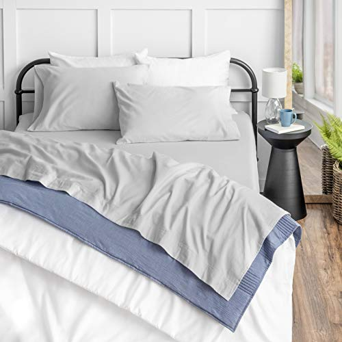 Welhome 100% Cotton Flannel Sheet Set - Queen Size 4 PC Luxury Bed Sheets - 100% Brushed Cotton for Supreme Comfort - Lightweight - Soft Warm & Cozy -...
