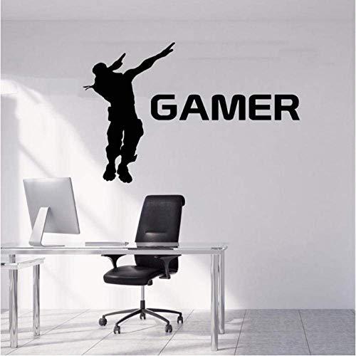 Gamer Pared Calcomanías Controlador De Jugador Videojuego Dormitorio De Niño Mural De Arte Desmontable Para Niños Sala De Juegos 42X64Cm