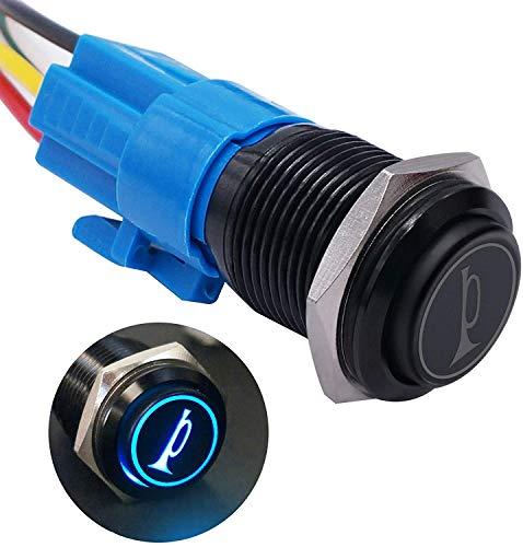 Taiss Botón de claxon para coche de 19 mm, 12 V, LED azul que ilumina momentáneamente, altavoz de metal, interruptor de cuerno con cables, para altavoces, cuernos, coches y barcos BK-GLB19-BU