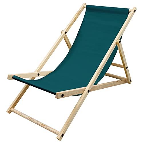 ECD Germany Silla de Playa Madera de Pino 3 Posiciones de Reclinación Plegable Tumbona Tradicional de Sol para Jardín o Balcón Verde Oscuro Impermeable hasta 120kg Tejido Oxford para Terraza Piscina