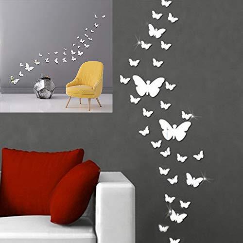 Pegatinas Pared Decorativas Mariposas efecto espejo plateado Wall Stickers Decoration Novedad 2021 Decoración para el Hogar Vinilo Decorativo Infantil por Dormitorio Cocina Salon (Plata/Silver