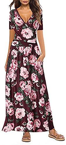 Vestido Largo Mujer Manga Corta Cuello en V Cintura Alta Vestidos Estampado Floral Verano Playa Falda Coctel...