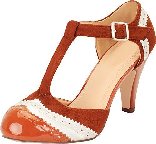 Cambridge Select Women's T-Strap Wingtip Style Cut Out Mid Heel Dress Pump,8 M US,Tan/White