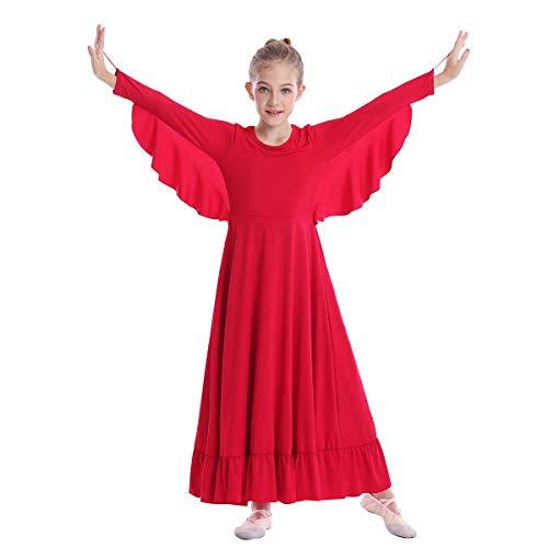 Girls Angel Isis Wings Worship Liturgical Praise Dance Dress Church Robe Kids Ruffle Full Length Ballet Gown Hanukkah Outfit Dancewear Red 9-10 Years