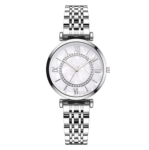 Guapo Reloj elegante brillante de las señoras, reloj electrónico de moda para mujer con reloj de cinturón de acero de precisión de diamante para mujeres Reloj de negocios ( Color : White , Size : A )
