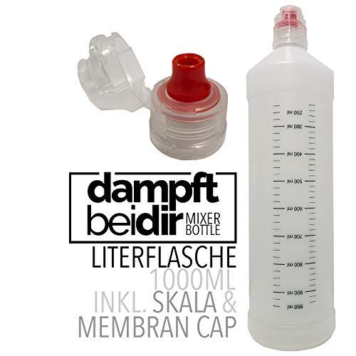 dampftbeidir Liquidflasche 1000 ml - graduierte Mischflasche aus PE zum Selbermischen von Basen, Liquids oder anderen Flüssigkeiten, mit Messskala und Membran-Cap