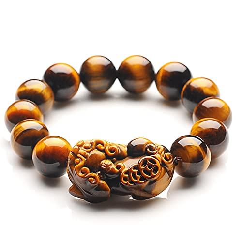 Weckan PIXIU/PIYAO Buddha Pulseras con Cuentas Natural Amarillo Tigre Ojo Piedras Preciosas Curación de la energía Pulsera de energía Ajustable Feng Shui Pulsera para Hombres,A,14mm