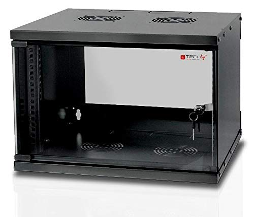 Techly Professional 023592 Armadio Rack 19' a Muro 6U Prof. 320 Nero Assemblato Nero