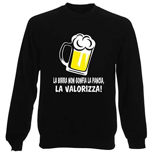 T-Shirtshock Felpa Girocollo Uomo Nera T0990 LA Birra Non GONFIA LA Pancia LA VALORIZZA Bevande Sballo