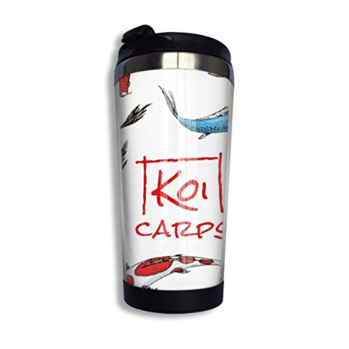 MQJJ Coffee Mugs Japan Koi Carp Reusable 304 Stainless Steel Coffee Cup with Lid Water Bottles for Home Office School 14 OZ Great for Ice Drink, Hot Beverage