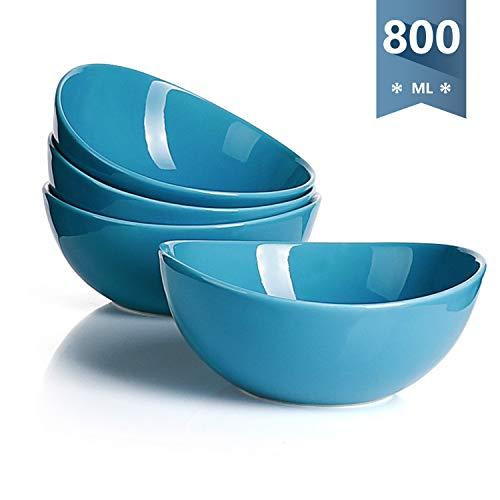 Sweese 103.107 Suppenschalen 4er Set aus Porzellan, Füllmenge 800 ml, Müslischale, Suppenschale, Salatschüssel, Azurblau