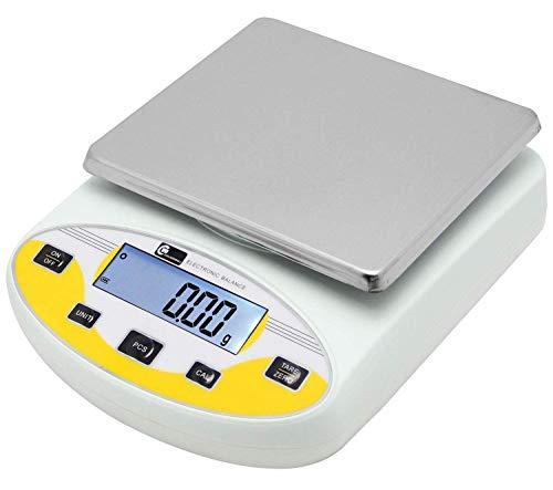 CGOLDENWALL Balanza de Precisión Eléctrica 5000g, 0.01g Báscula Digital con Funciones de Autocorrección Memoria Y Más Ideal para Lab Cocina Joyería丨Ya Calibrada y Lista para Usar丨 (5000g, 0.01g)