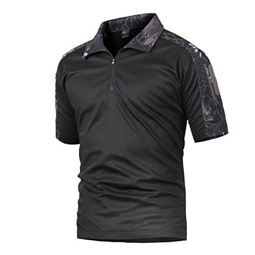 Camisa de Combate para Hombres Caza táctica Militar Polo de Manga Corta Held Airsoft Camuflaje Camiseta Uniforme táctico Ropa Deportes al Aire Libre para Multicam Pitón Negro Large