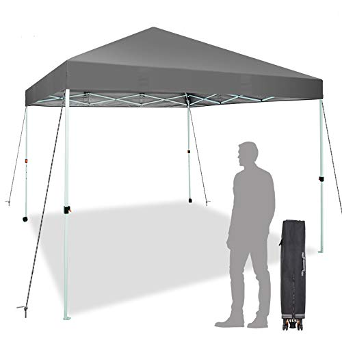 Sunnyglade 10x10 Ft Pop Up Canopy Tent One Button Easy Pop Up Outdoor Instant Folding Straight Leg Canopy with 2 Wheels and Deluxe Carry Bag(Dark Grey)