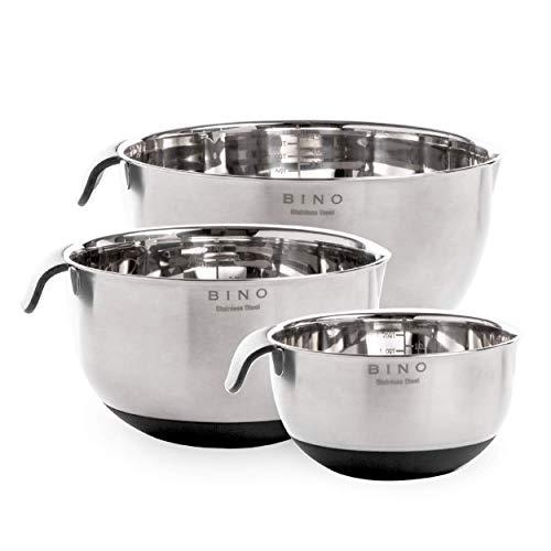 BINO 3-Piece Stainless Steel Mixing Bowl Set, Black - Stainless Steel Mixing Bowls Set Mixing Bowls for Kitchen Stainless Steel Bowls Metal Mixing Bowls Kitchen Bowls