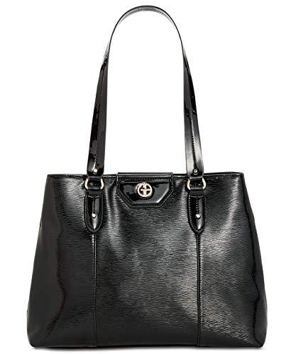 Giani Bernini Womens Patent Organizational Tote Handbag Black Medium