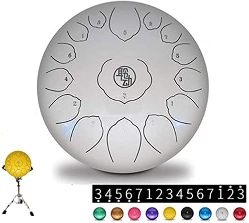N&G Decoración del hogar 14 Notas 15 Pulgadas Tambor de Lengua de Acero Instrumento de percusión Lotus Drum con mazos de Tambor Drum Rack Made in USA (Color: Blanco)