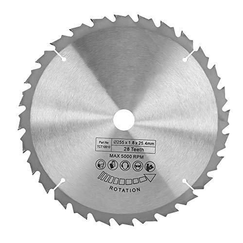 Hoja de sierra circular, 255 mm × 25,4 mm 28 dientes Disco de cuchilla Herramienta de corte de madera de carburo cementado para aluminio, hierro, plástico, madera