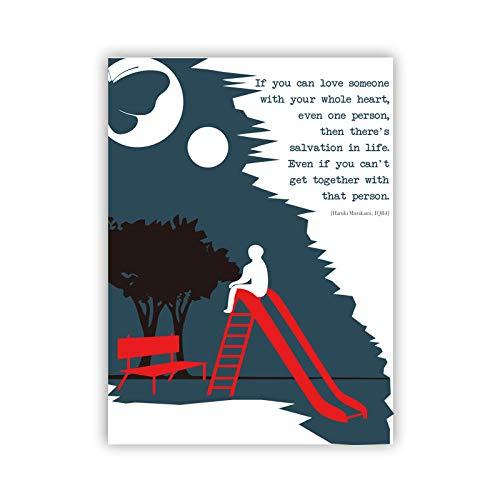 YCHND Haruki Murakami Amantes De Los Libros Fan Regalos Poster Literario Arte De La Pared Citas Lienzo Pintura Libros Impresiones Decoracion De La HabitacióN Cuadros Regalo 40x60cm Sin Marco