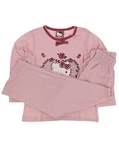 Hello Kitty - Pijamas largo rodeado en corazón de rosa fucsia 6 años