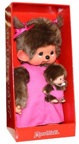 Sekiguchi 236400 - Mamma Moncicì con cucciolo, 45 cm, colore: Rosa