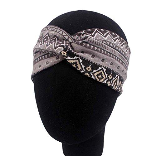 Demarkt 1 Pcs Femme Bandeau Folk-Custom Traverser Cheveux Nœud d'oreille Headband Elastique Humidité Artificiel Hairband Twisted Hair pour Sport Yoga Accessoire 22 * 9cm Gris