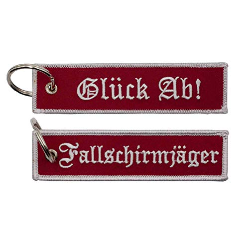 Café Viereck ® Fallschirmjäger Schlüsselanhänger mit Öse und Ring – 12 cm x 3 cm