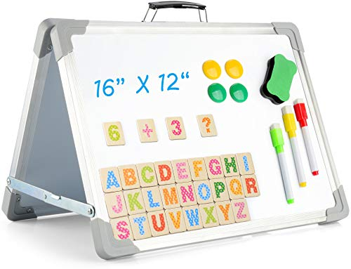 Magnetic Board Small White Board for Wall Foldable 12' X 16' Double-Sided Mini WhiteBoards Easel, Desktop Dry Erase Board White Board for Kids Students School Home Kitchen Office