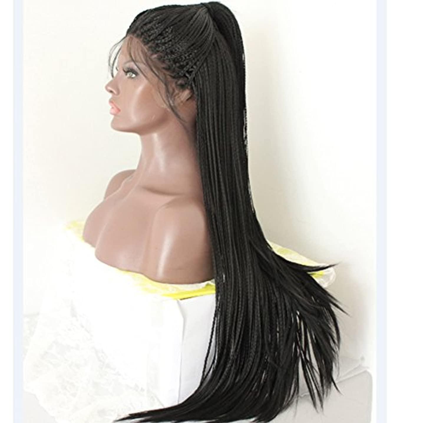 PlatinumHair long black braids with baby hair synthetic lace front wigs heat resistant synthetic wigs 26