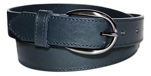 ITALOITALY Cintura in Vera Pelle Italiana, Donna, ca. 3cm, Blu Scuro, Bordo con Cucitura, Prodotto Artigianale, Made in Italy, Accorciabile (Lunghezza totale cm 110)