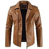 MORCHAN Hommes Automne et Hiver Nouveau Style Lapel Veste à Capuche en Cuir Plus épais Manteau pour (XX-Large,B-Brown)