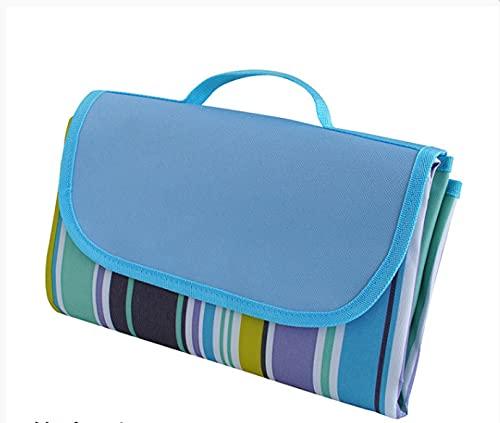 Esterilla de pícnic resistente a la humedad para exteriores, portátil, gruesa, impermeable, para viajes de primavera, 100 x 145 cm, rayas azules.