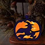 Halloween Decorations Lights Indoor, Halloween Pumpkin Night Lights with Battery Operated, Durable Double-Sided Halloween Lights Light Up Festival Decor, Witch