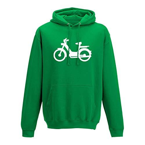 Hoodie Mofa Herkules Simson Vespa Roller Motorroller 10 Farben Herren XS-5XL Töffli Scooter Moped Lambretta Mokick-Roller Cityflitzer, Größe:XL, Farbe:grün - Logo Weiss