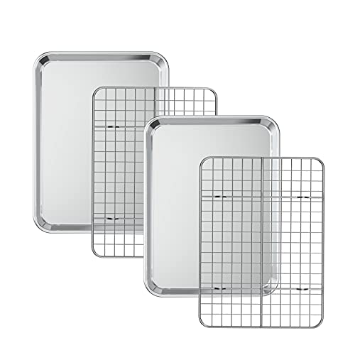 Baking Sheet with Cooling Rack Set [2 Sheets + 2 Racks], Deedro Stainless Steel Cookie Half Sheets Baking Pan Oven Tray with Rack, 9.33 x 7 x 1 Inch, Heavy Duty, Non-toxic, Easy Clean