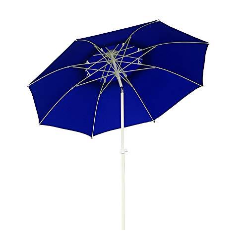 Parasols Parapluie de Patio Bleu avec Poteau en Métal Inclinable, Grand Parasol D'extérieur de 8,2 Pieds Longue Durée Sunbrella Résistant Au Vent avec 8 Côtes Robustes