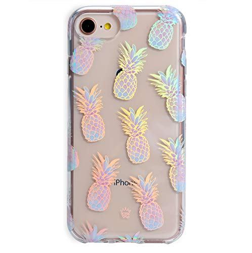 Velvet Caviar Compatible with iPhone SE 2020 Case, iPhone 8 Case, iPhone 7 Case Pineapple for Women & Girls - Cute Clear Protective Phone Cover (Holographic Pineapples)