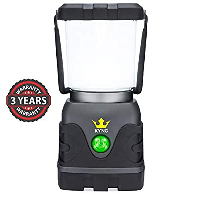 KYNG Camping Lantern 1000 Lumens Bright & Dimmable Warm & Cool White LED Light Modes- D-Cell Battery Powered for Outdoors, Emergency, Roadside Use