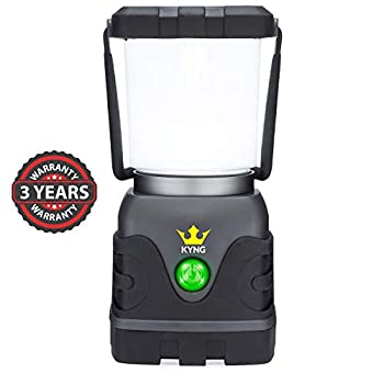 KYNG Camping Lantern 1000 Lumens Bright & Dimmable Warm & Cool White LED Light Modes- D-Cell Battery Powered for Outdoors Emergency Roadside Use