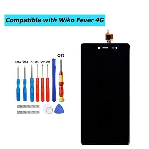 E-YIIVIIL - Pantalla LCD de repuesto compatible con Wiko Fever 4G 5,2 pulgadas (color negro, sin marco), pantalla de repuesto, pantalla táctil LCD con kit de herramientas